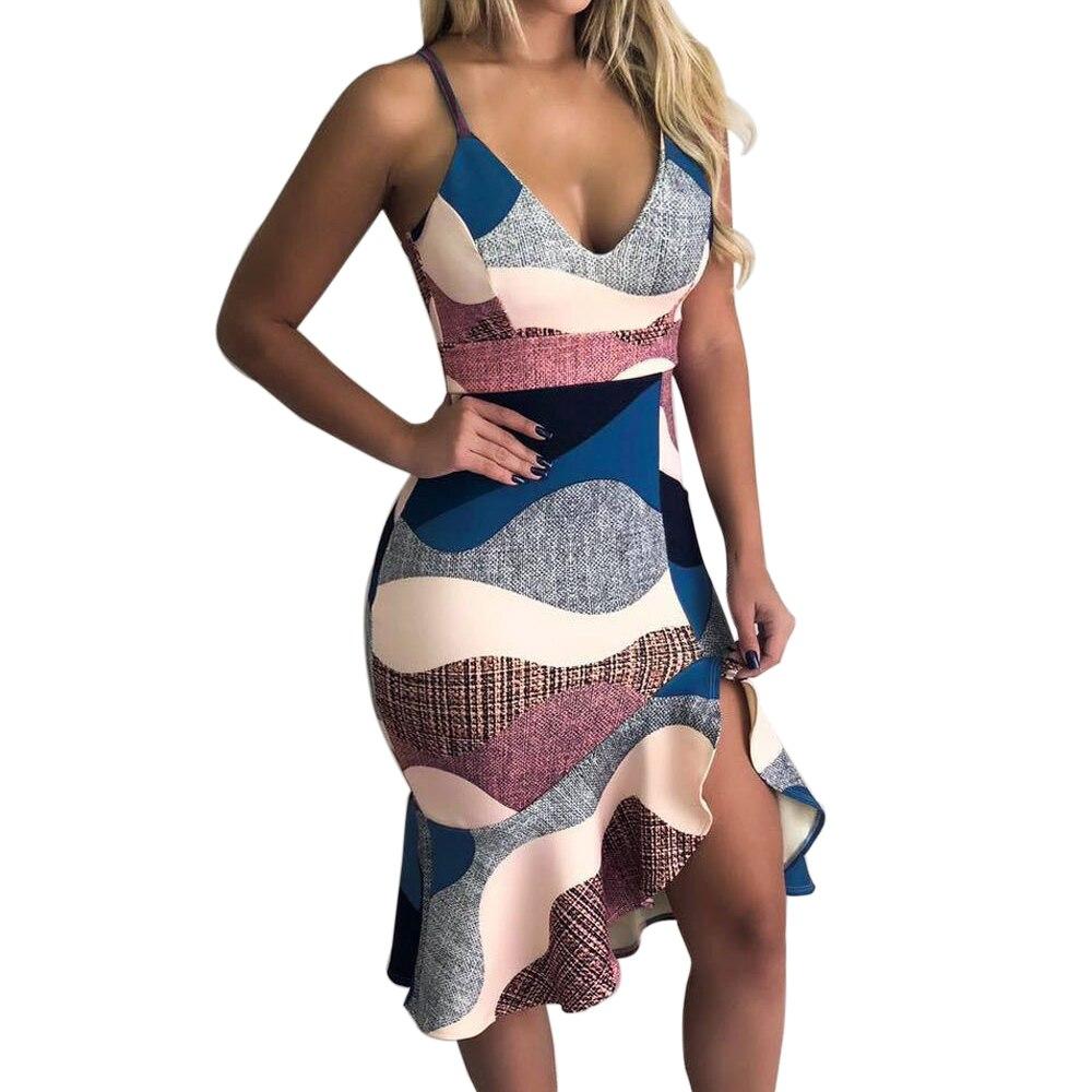 Adisputent 2020 Sleeveless Dresses Womens Sexy Deep V Neck Vestidos Casual Printed Bodycon Dress Femme Ruffle Slim Dress Mujer