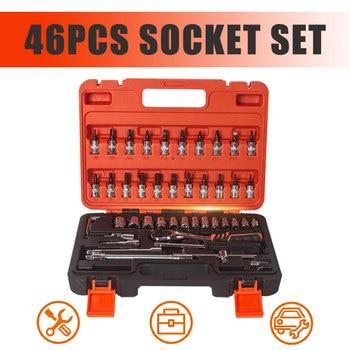 46pcs 1/4 Car Repair Tool Socket Set Car Repair Tool Ratchet Spanner Torque Wrench Combo Tools Kit Auto Repairing Tool Set c type wrenches hand tool set plum wrench spanner set auto repair wrench tools