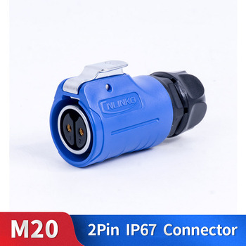 M20 2 دبوس موصل مقاوم للمياه عدة معدنية قذيفة الذكور والإناث الصناعية في الهواء الطلق الإضاءة كابل التوصيل ومأخذ
