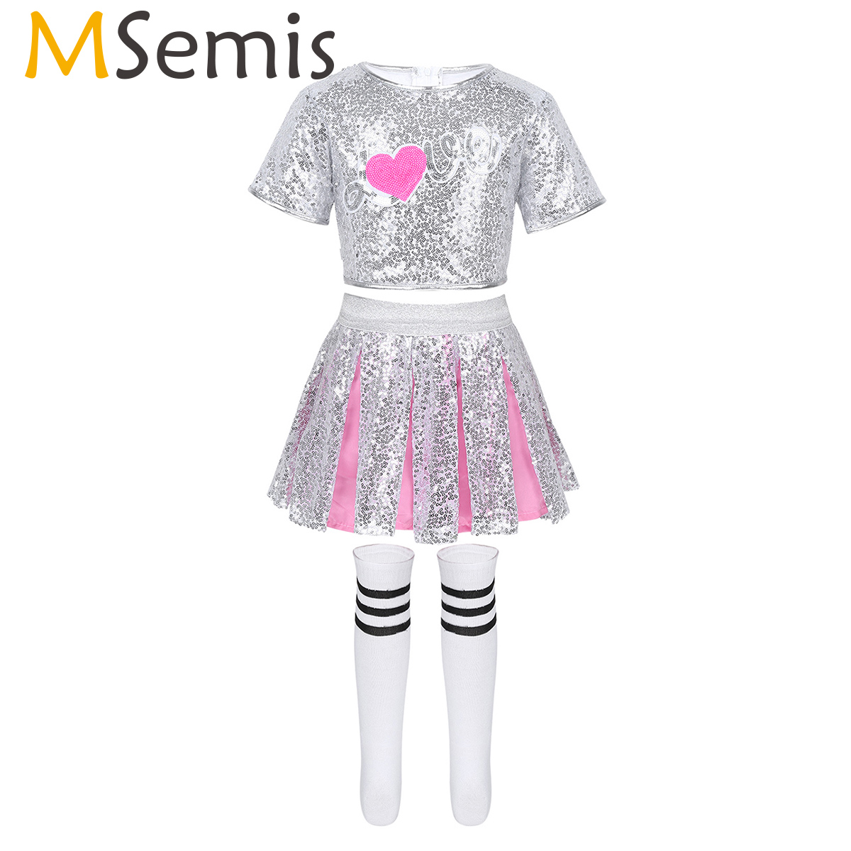 Kids Girls Jazz Hip Hop Modern Rave Clothes Outfit Dance Costume Shiny Sequins Love Applique Crop Top Skirt With Striped Socks