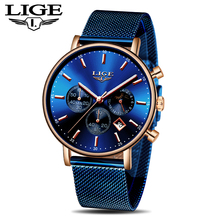 лучшая цена LIGE Fashion Mens Watches Top Brand Luxury Blue Waterproof Watches Ultra Thin Date Simple Casual Quartz Watch Men Sports Clock