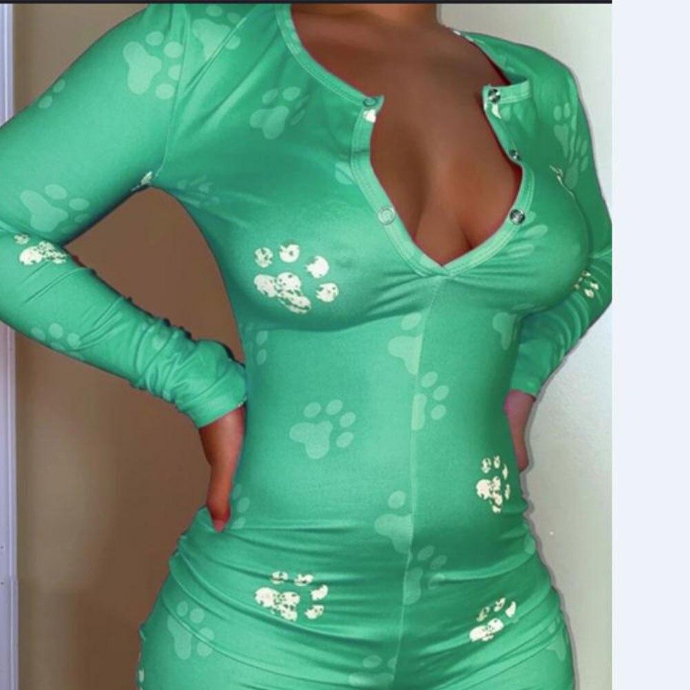 2020 Sexy Women V-neck Bodycon Sleepwear Jumpsuit Bodysuit Shorts Romper Bodysuit Leotard Long Sleeve Printed Button Bodysuit