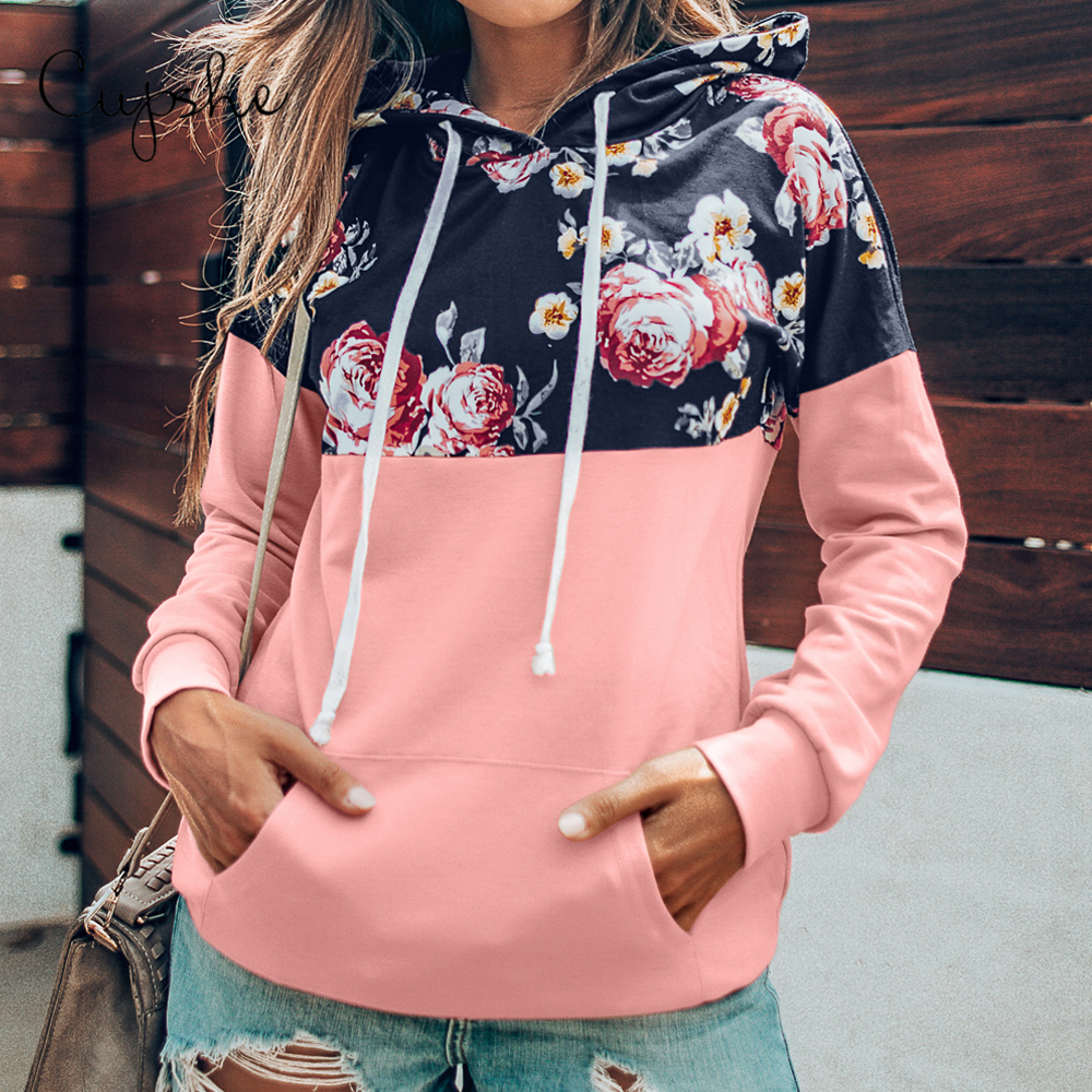 CUPSHE Pink Floral Print Hoodies Women Casual Long Sleeve Pockets Sweatshirt Pullover Top Spring Autumn Hoodie Sportswear