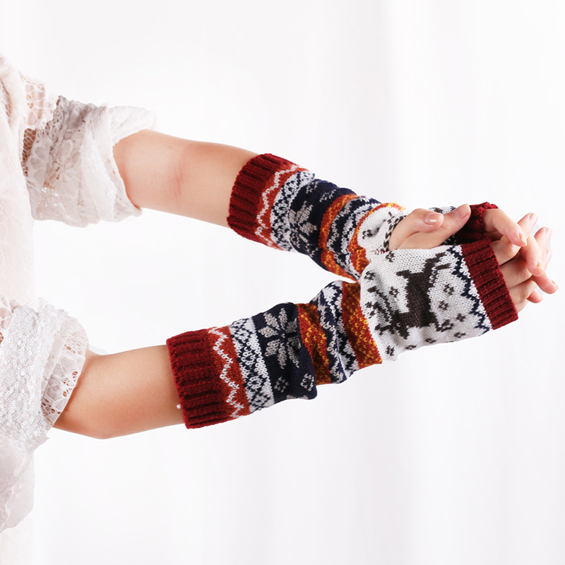 Women Arm Warmers Winter Fingerless Gloves Knitted Mitten Long Gloves Print Cartoon Female Arm Warmers Fashion Warm Gloves