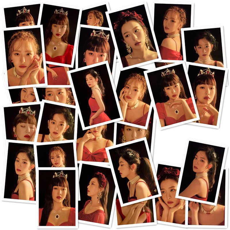 Kpop de terciopelo rojo concierto <La Rogue> Polaroid foto Lomo tarjetas de K-POP de terciopelo rojo Fans colección de regalos de Metal caja de 40 unids/caja