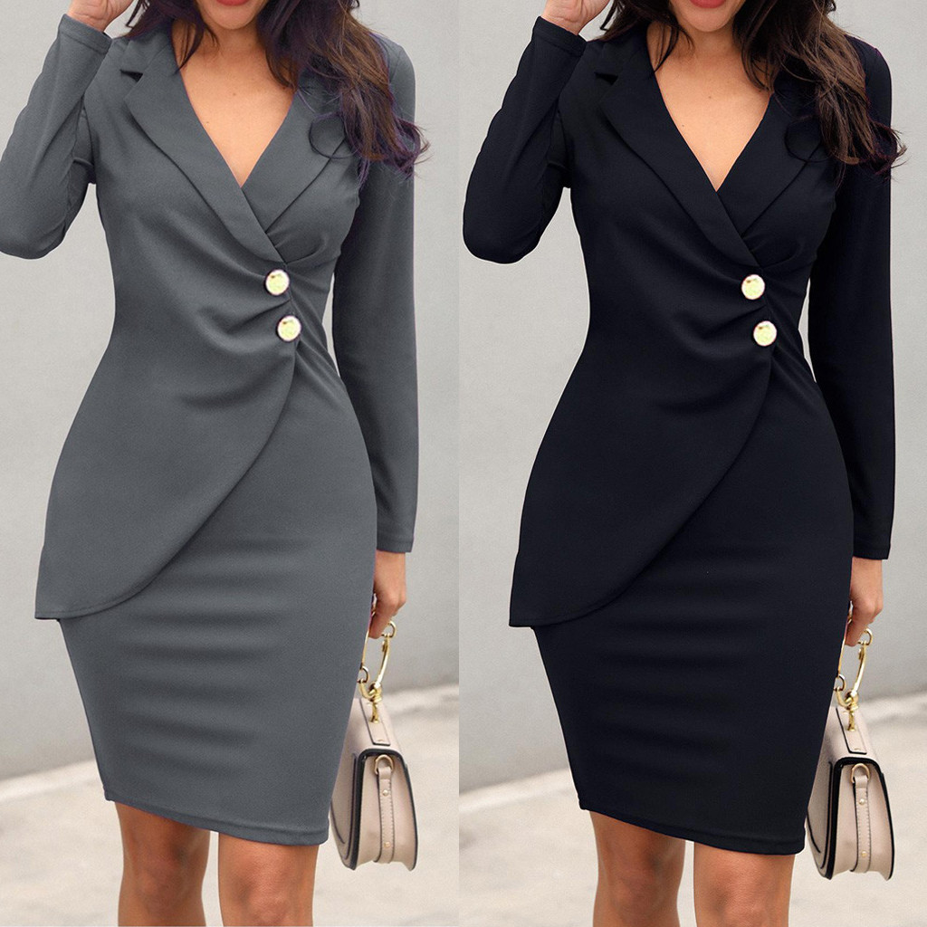 Office Dress Women Elegant Women Office Lady Sexy Solid Turn Down Neck Long Sleeve Buttons Bodycon Work Formal Dress