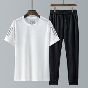 Плюс 8XL 7XL, спортивный костюм, мужские комплекты, футболка + длина, мужской костюм для бега, повседневный Быстросохнущий спортивный бренд, муж...