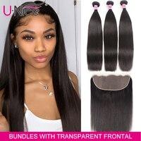 UNice Hair 13x4/6 Transparent Lace Frontal Closure With 3 Bundles Brazilian Straight Human Hair Bundles Lace Closure 4PCS