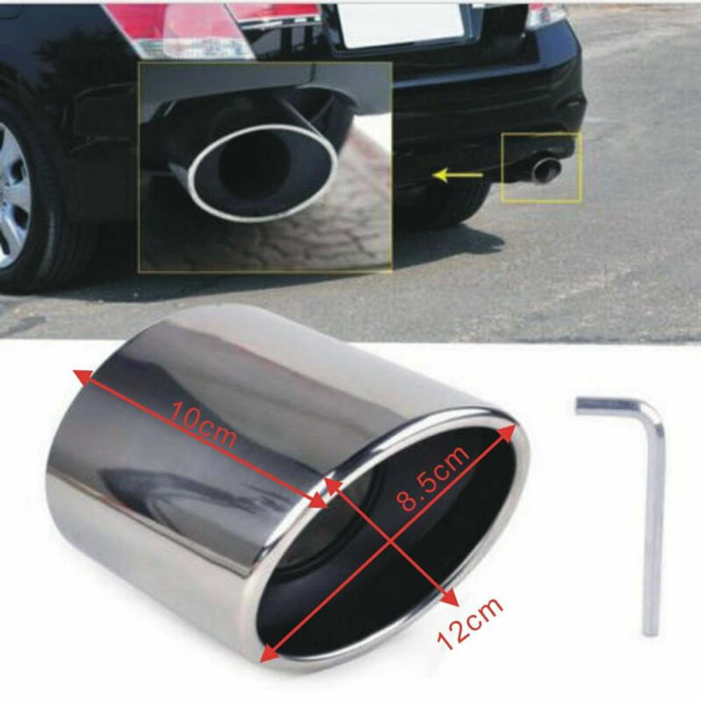 1pc car Exhaust Muffler Tail Tip Oval Pipe Stainless Steel Silver 100mm For Honda Accord 2008  2013 Exhaust Pipe Tail Tip part|Mufflers| |  - title=