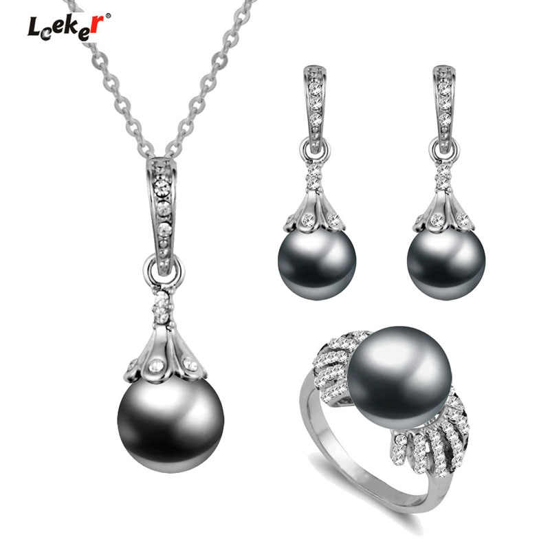 LEEKER Vintage Imitation Pearl Wedding Jewelry Set Silver Color Necklace Earring Ring Set For Women Party Prom 252 LK1