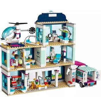цена на Friends City Heartlake Hospital Ambulance Block Set Princess Undersea Palace Compatible with  Friends 41318 Girls Toys