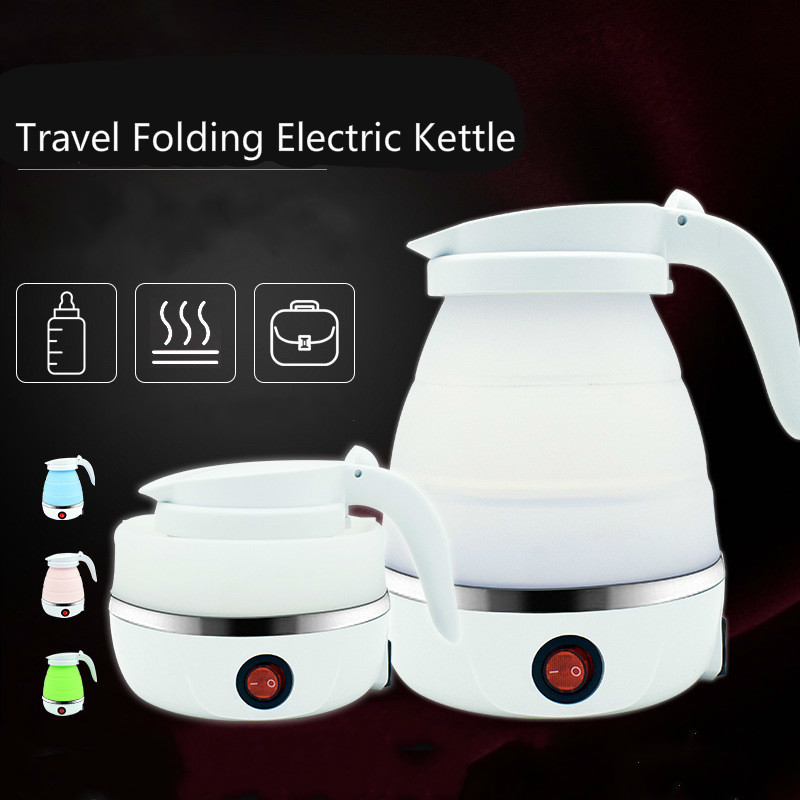 Foldable Electric Kettle Silica Gel Portable Travel Water Boiler Pot 1000W Household Kitchen Fast Heating Boiling Teapot Pot