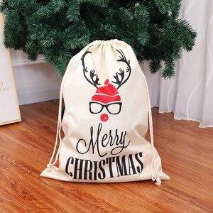 Image 3 - Grande tamanho sacos de natal santa sacos feliz natal natal festa feliz ano novo feriado diy decorações favor presentes sacos
