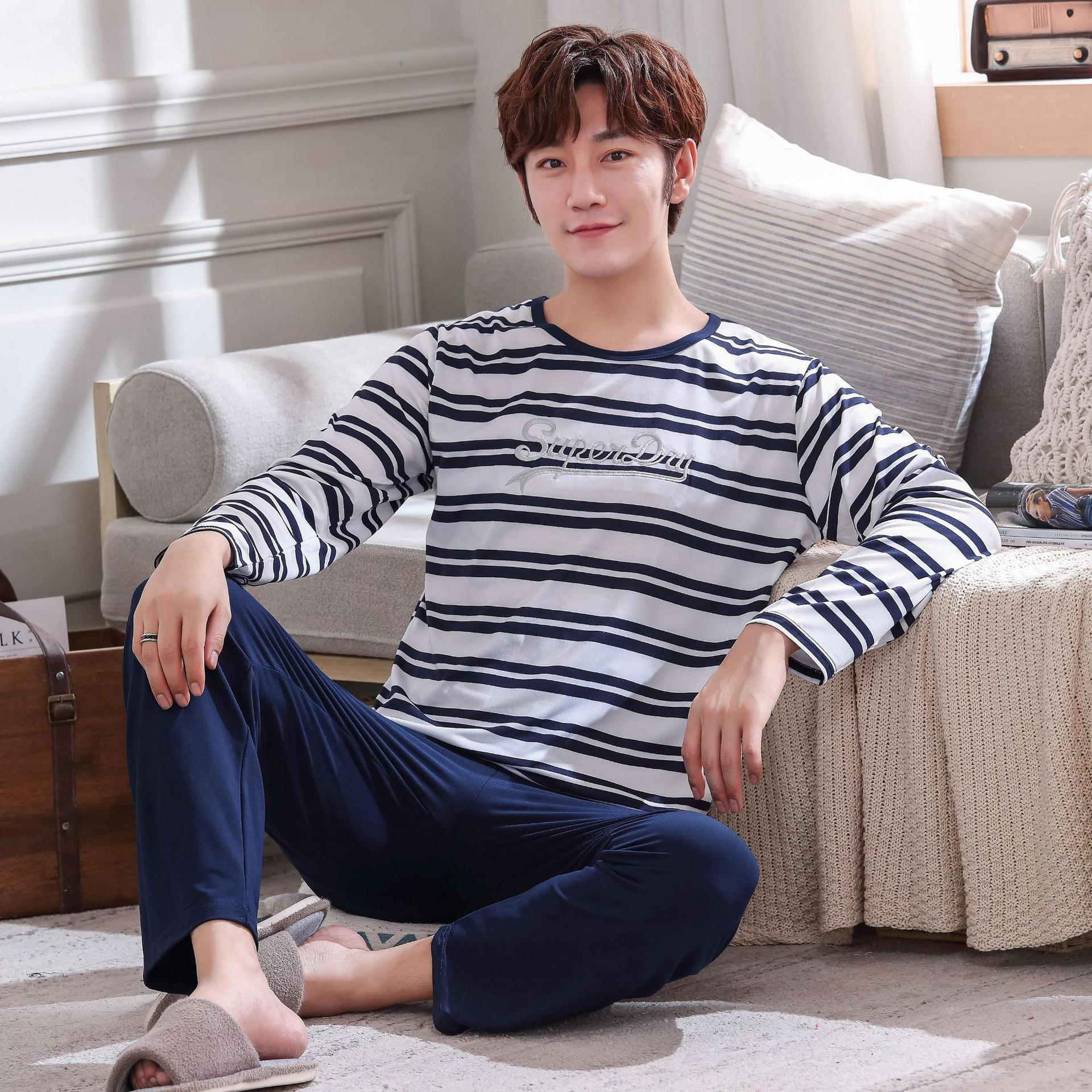 Wontive Men Pyjamas Suit Autumn New Long Sleeve Nightgown Stripe Pajamas Set For Male  Sleep Clothing Casual Nightie Sleepwear