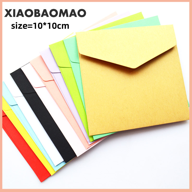 50pcs/lot 100mm Romantic Colorful Small Colored  Blank Mini Paper Envelopes Wedding Invitation Envelope Gilt Envelope DIY Crafts