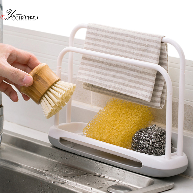 OYOURLIFE Detachable Kitchen Sink Sponge Holder Sink Sponge Soap Dishcloth Drain Drying Rack Kitchen Sink Accessories Organizers