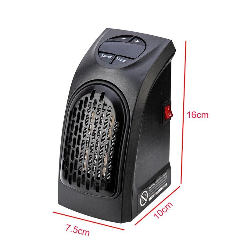 Riscaldatore da parete plug-in da 500 W Mini timer digitale per spazio elettrico Riscaldamento in ceramica Portatile per dormitorio domestico