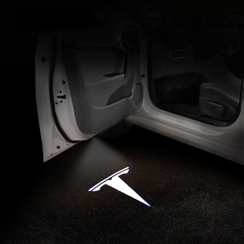 1set Car LED Courtesy Ghost Shadow Welcome Light Laser Logo Projector Door Lamp For Tesla MODEL S MODEL X MODEL 3 MODEL Y