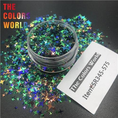 TCT-132, 12 цветов, четыре угла, форма звезд, блестки для ногтей, блестки для украшения ногтей, макияж, боди-арт, сделай сам - Цвет: SR345-575  50g