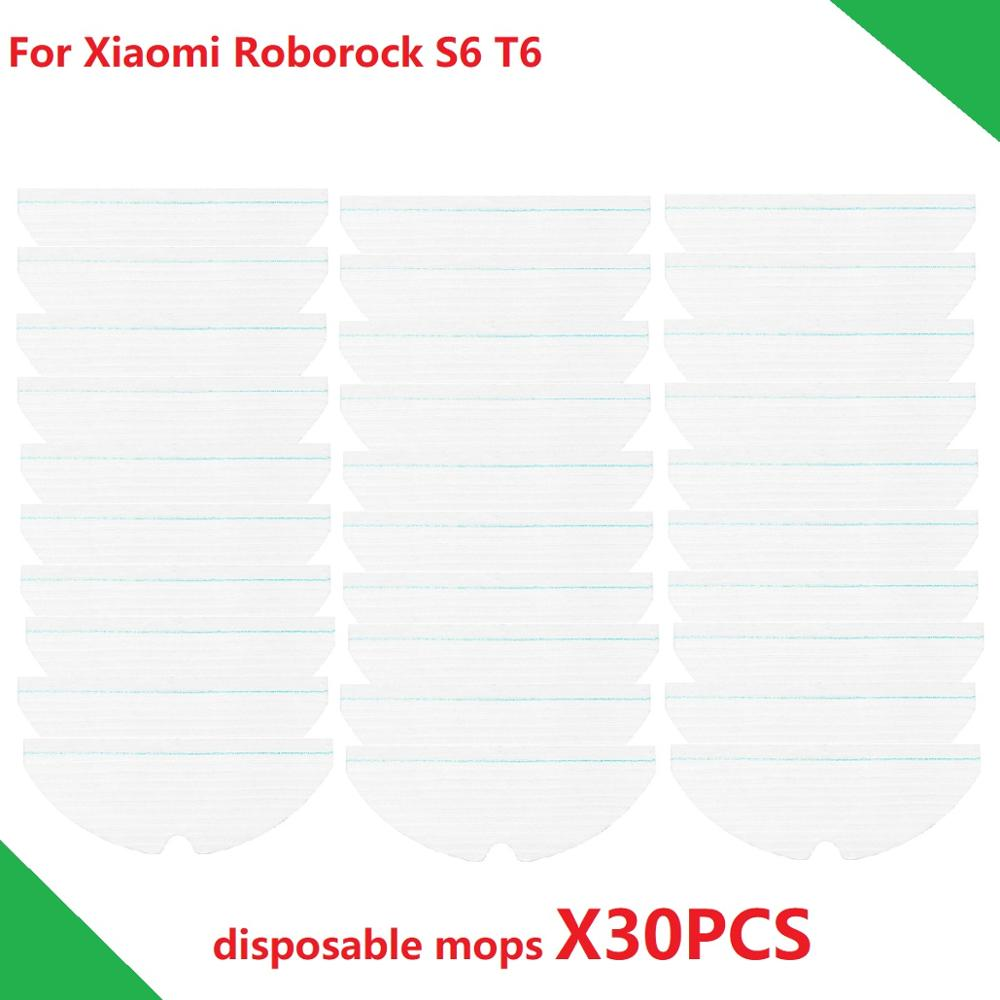Disposable Mops For Xiaomi Roborock S6 T6 S5 Robot Vacuum Cleaner Moping Cloth Pads 30PCS Sweeper Mop Cloth Accessories