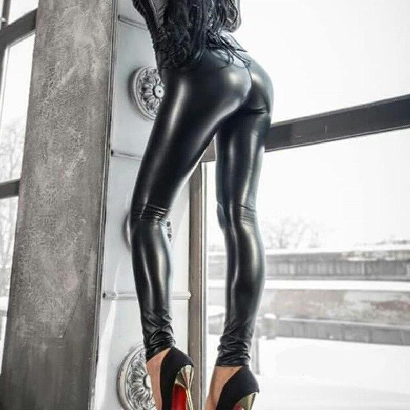 Женские леггинсы из искусственной кожи большого размера, сексуальные обтягивающие леггинсы с высокой талией, эластичные черные брюки, Стрейчевые леггинсы|Легинсы|   | АлиЭкспресс