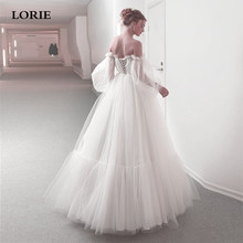 LORIE Boho Lace Corset Wedding Dress A-Line Puff Sleeves Bride A Line Off The Shoulder Gown vestidos de noiva