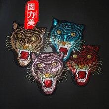 1pc Pailletten Bestickt Große Große Tiger Kopf Eisen auf Patches mit Kleber Applique DIY Spitze Kleidung Zubehör Mantel Jacke t-Shirt