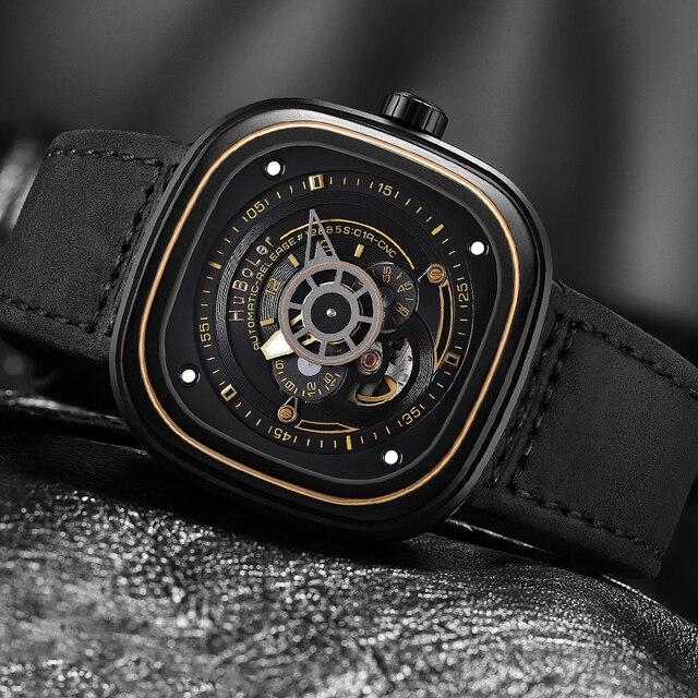 Montres automatiques masculines de luxe 30m étanche carré creux noir acier inoxydable creux mécanique mode hommes femmes montre-bracelet