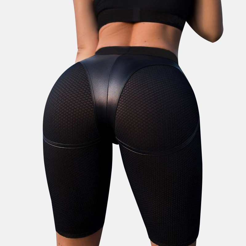 Sexy Push Up   Leggings   Leather Short Women Mesh Fitness Pants ladies Gym Sports   Leggings   Patchwork Black High Waist Jeggings