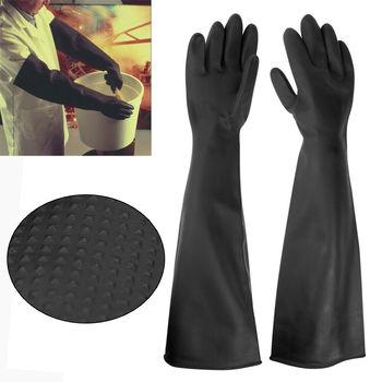 Gumowe rękawice lateksowe PPE długie rękawiczki anty chemiczne rękawice przemysłowe 60CM tanie i dobre opinie 140g Grube RUBBER Czyszczenie Anti Chemica