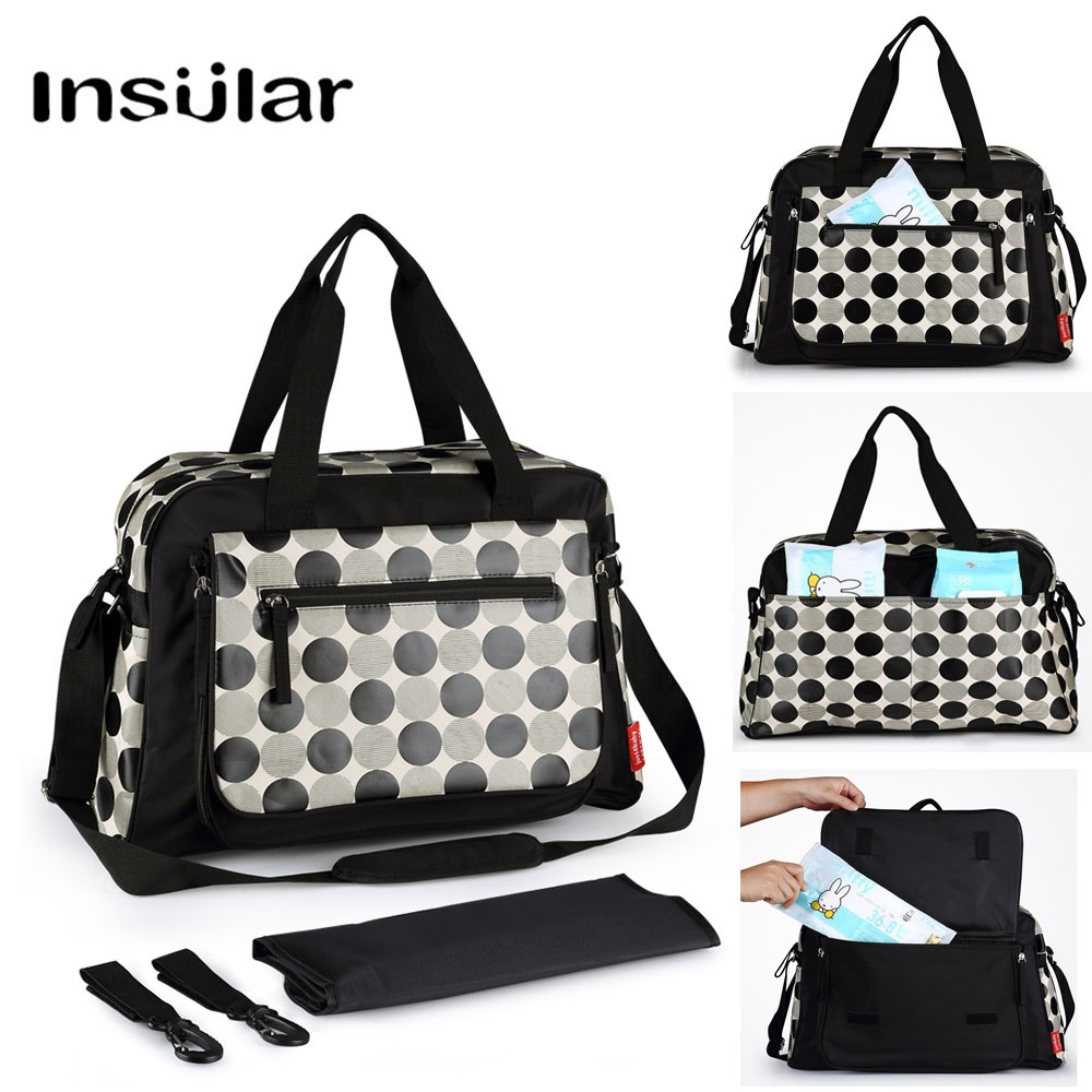 Insular Fashion Baby Bags For Mom Nappy Bag Waterproof Dot Diaper Bag Stroller Large Capacity Totes For Maternity Care Travel