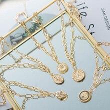 Wild& Free роскошный дизайн панк цепи геометрический кулон ожерелье Круглый колье ожерелье s для женщин модные золотые ювелирные изделия с чеканкой