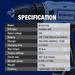Image 2 - WORKPRO 12V Cordless Drill Electric Screwdriver Mini Wireless Power Driver DC Lithium Ion Battery 3/8 Inch 2 Speed