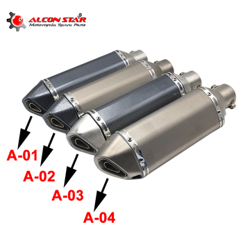 цена на Alconstar- Universal Motorcycle Dirt Bike Exhaust Escape Modified Scooter Ak Exhaust Muffle Fit for Most Motorcycle ATV ER6N CBR