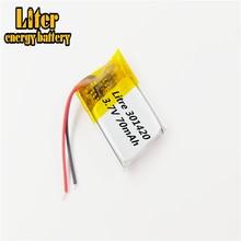 031420 301420 70MAH MP3 Bluetooth kulaklık küçük oyuncaklar pil 3.7V lityum pil 37V pil