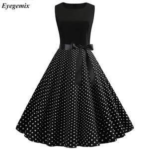 Women Summer Dresses 2020 Robe Vintage 1950s 60s Pin Up Big Swing Party Work Wear Rockabilly Dress Black Polka Dot Vestidos(China)