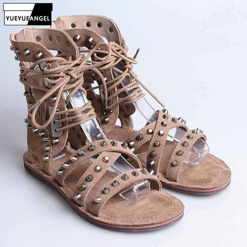 Üst kadınlar düz platform sandaletler sokak perçin inek süet çapraz bağlı Hollow Out gladyatör Sandalias yaz çizmeler artı boyutu 41 siyah