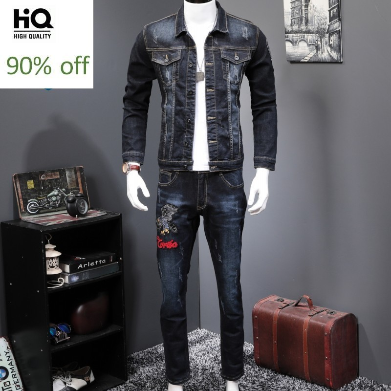 Spring 2020 New Fashion Men's 2 Piece Sets Vintage Embroidery Long Sleeve Slim Denim Jacket Coats And Jeans Pants Man Clothes