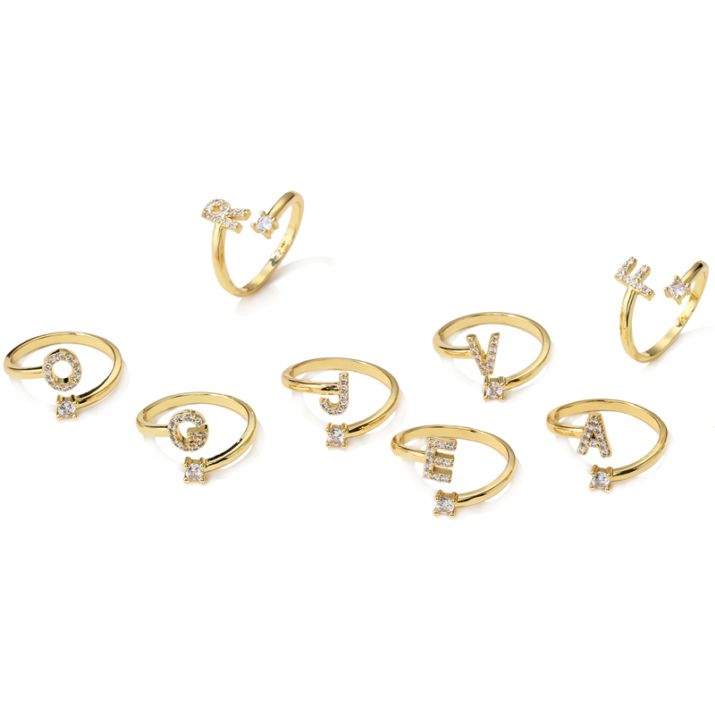HECHENG Mode brief ringe, Für Frauen, Gold Farbe Kupfer Adjuatable Öffnung Ring, Initialen Name Alphabet Finger Ringe