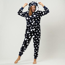 Factory Wholesale Adults Women Flannel Hooded Onesie Pajama One Piece Homewear Pajamas Jumpsuit For Christmas Costume