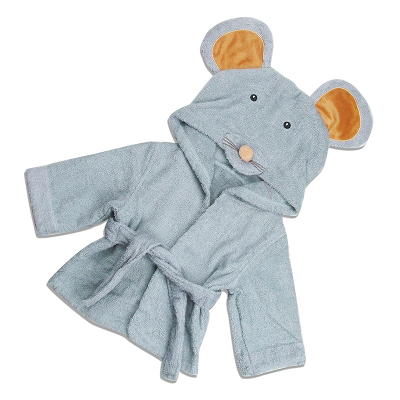 Aspen Style Cartoon Modeling Cotton Bathrobe Hooded Bath Towel For Children Infant Bath Towel Robe