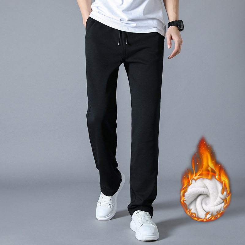 Spring Autumn Cotton Jogger Men Casual Fleece Sweatpants Men Warm Trousers Tracksuit Bottoms Sportswear Loose Straight Pants