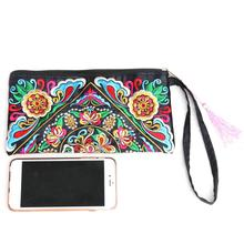 Ethnic Style Embroidered Clutch Bag Retro Top-handle Bags Fashionable Exquisite Wallet Satin Clutches For Women Feminina Popular
