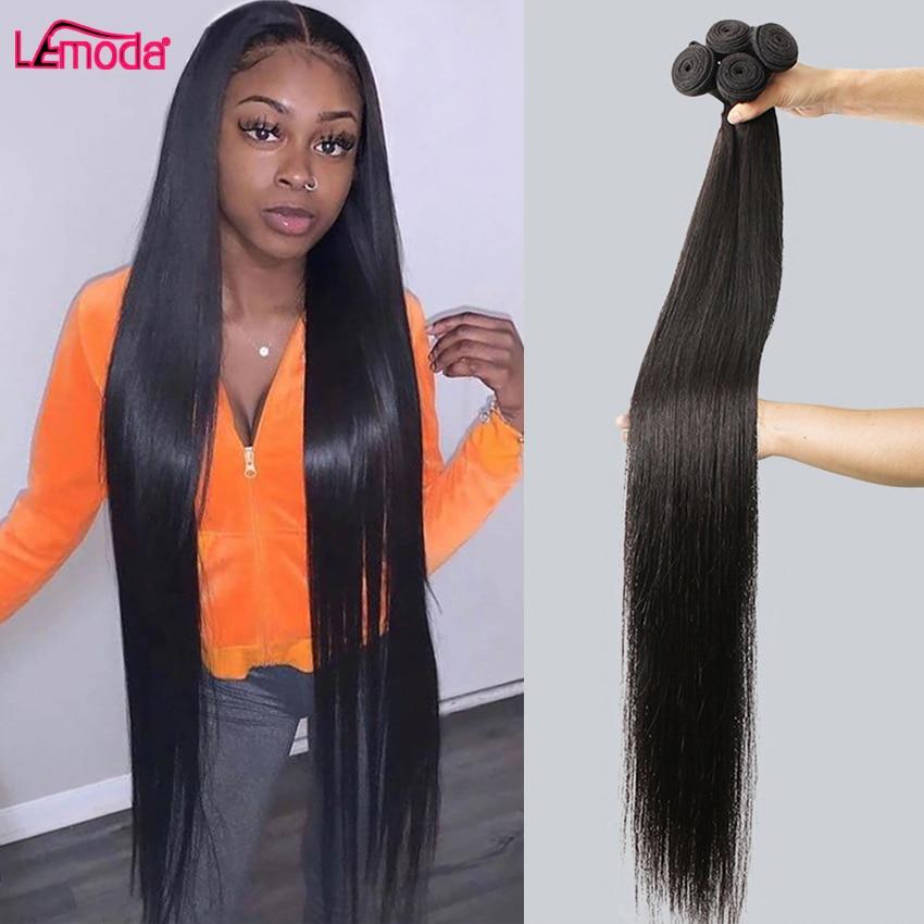 Прямые пряди бразильских человеческих волос пряди 28 30 дюймов Пряди для наращивания волос Lemoda натуральный Цвет Remy 1 3 4 пряди волос плетение
