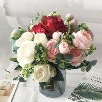 30cm rosa de seda ramo de peonías, flores artificiales 5 cabezas grandes 4 pequeño ramo de novia boda decoración del hogar flores de imitación