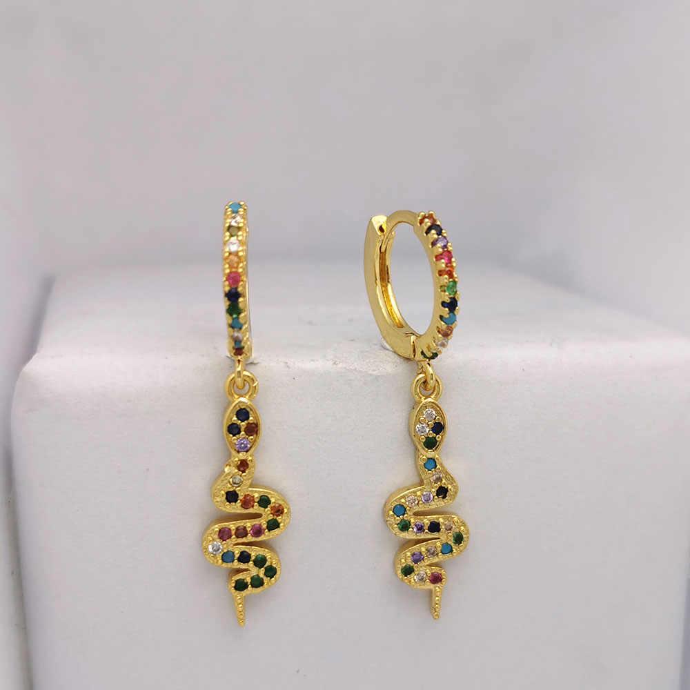 Petit cerceau boucles d'oreilles femmes CZ arc-en-ciel coeur coquille étoile serpent bijoux larme océan hippocampe Huggie or couleur boucle d'oreille à la mode