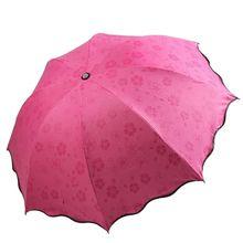 Женский и девичий зонт от солнца и дождя, меняющий цвет, цветочный принт, трехскладной зонтик, подарок, мини складной зонт