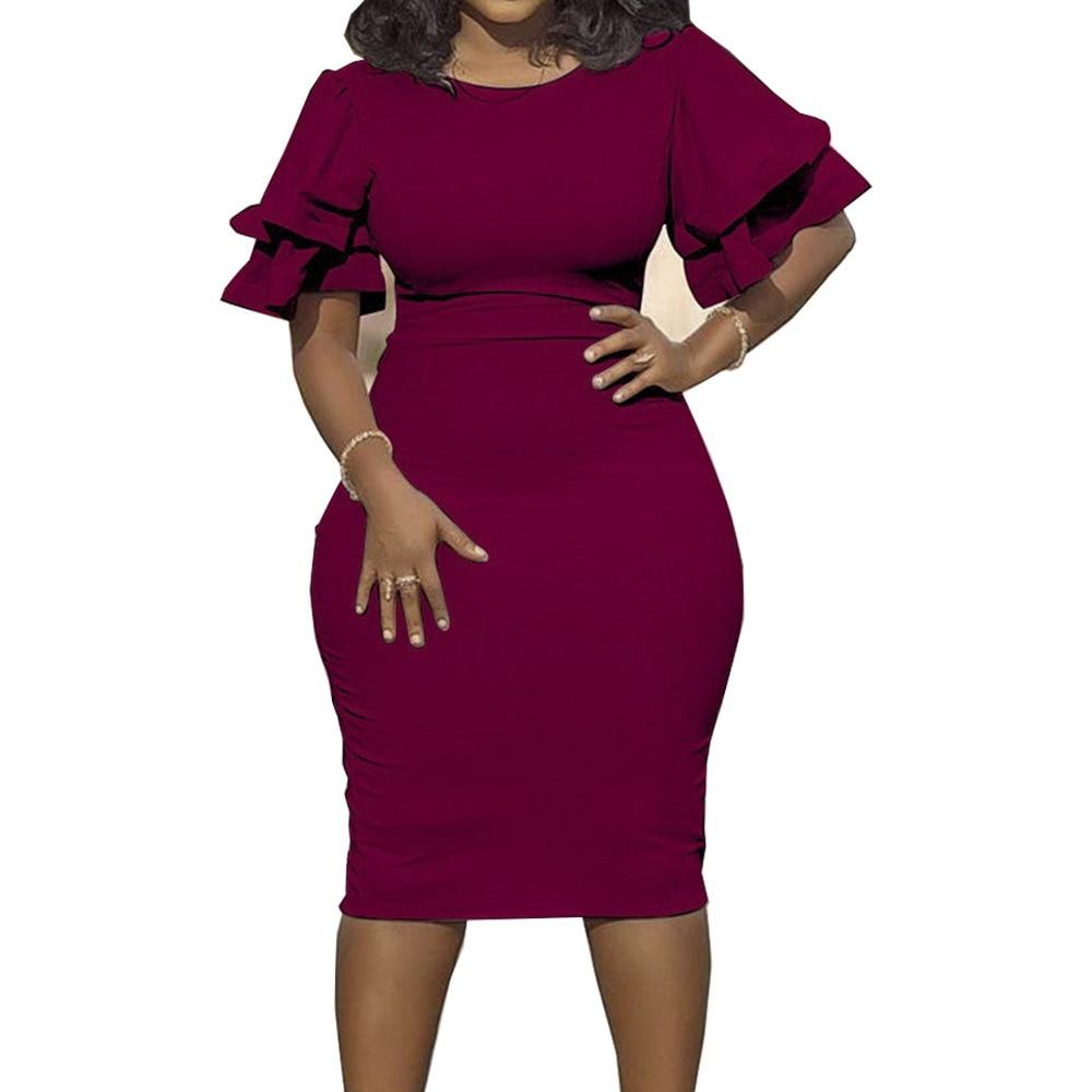 Large size XL-5XL Sudress 2019 Women's Dress O-Neck lanterm Sleeve Slim Night Solid Party short dress (11)