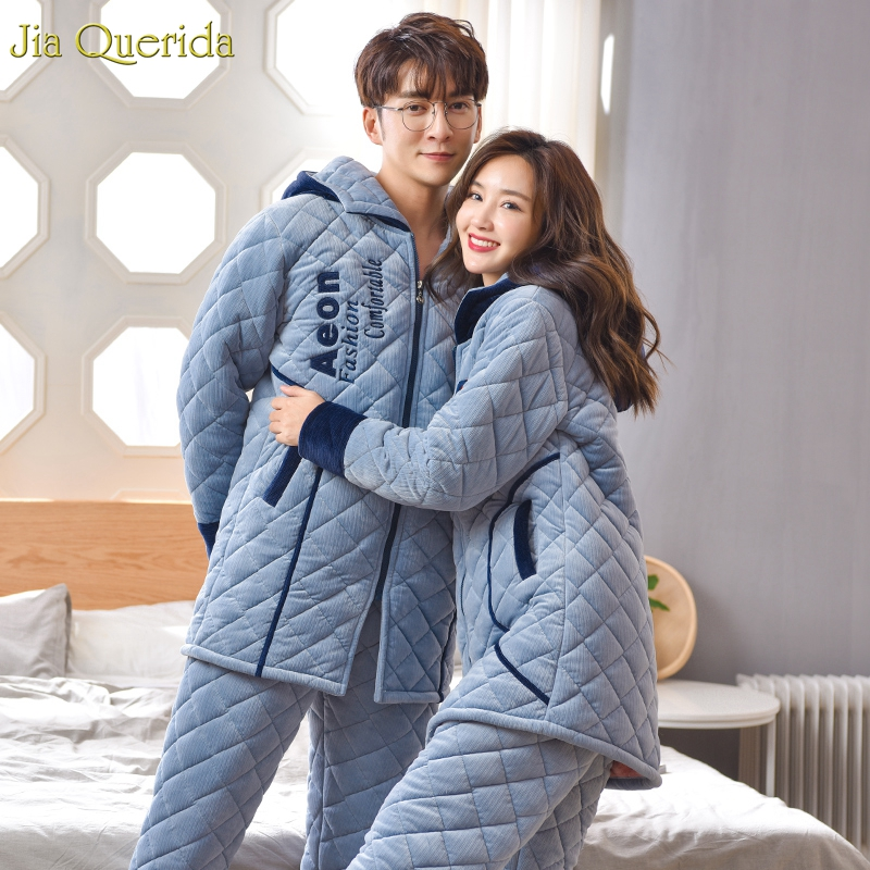 New Couple Winter Velvet Pajamas 3 Layer Padded Warm Home Clothing Hooded Cardigan Zipper Jacket Chic Embroidery Couple Pajamas