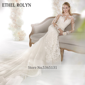 Image 3 - ETHEL ROLYN Romantic Mermaid Wedding Dresses 2020 Long Sleeve Sexy Sweetheart Shining Illusion Wedding Gowns Vestido De Noiva